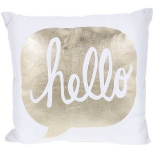 """White and Gold """"Hello"""" Decorative Pillow"""